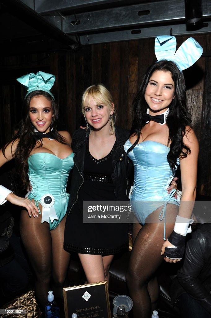 Playboy Playmate of the Year Jaclyn Swedberg, actress <a gi-track='captionPersonalityLinkClicked' href=/galleries/search?phrase=Anna+Faris&family=editorial&specificpeople=213899 ng-click='$event.stopPropagation()'>Anna Faris</a> and a Playboy Playmate attend The Playboy Party Presented by Crown Royal on February 1, 2013 in New Orleans, Louisiana.