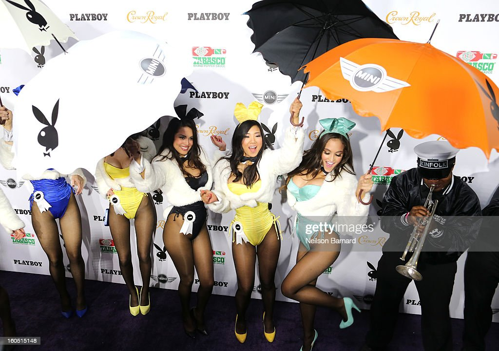 Playboy Playmate of the year Jaclyn Swedberg (R) and Playmates pose at The Playboy Party Presented by Crown Royal on February 1, 2013 in New Orleans, Louisiana.