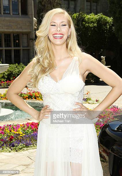 Playboy Playmate of the Year Kennedy Summers attends Playboy's 2014 'Playmate Of The Year' announcement held at The Playboy Mansion on May 15 2014 in...