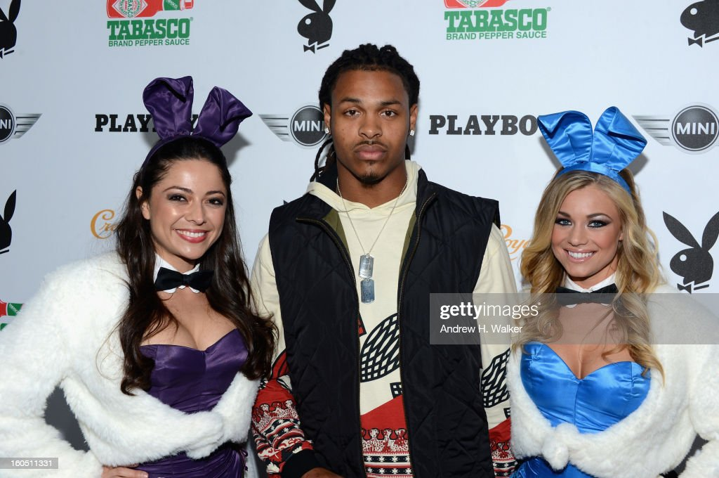 Playboy Playmate Pilar Lastra, NFL Player Chad Jones and Playboy Playmate Nikki Leigh attend The Playboy Party Presented by Crown Royal on February 1, 2013 in New Orleans, Louisiana.