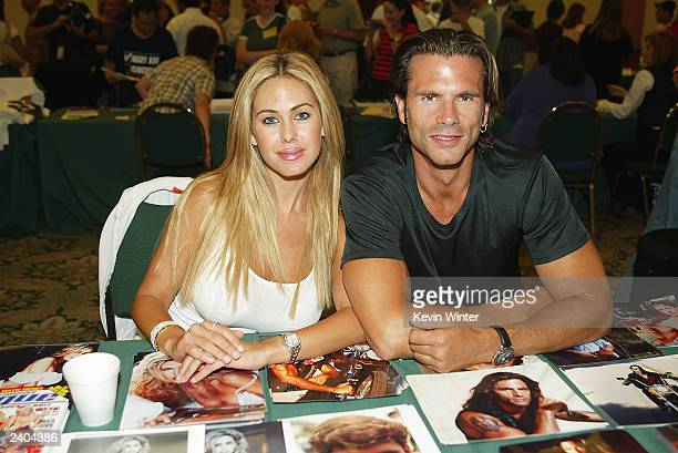 Playboy Playmate Shauna Sand and exhusband actor Lorenzo Lamas appear at the First Official TV Land Convention at the Burbank Airport Hilton on...