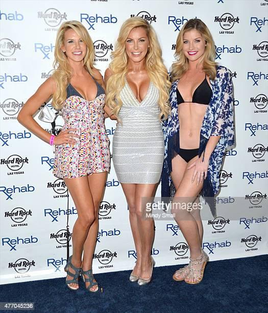 Playboy playmates Amanda Vanderpool Crystal Hefner and Carly Lauren arrive at Rehab at the Hard Rock Hotel Casino on June 13 2015 in Las Vegas Nevada
