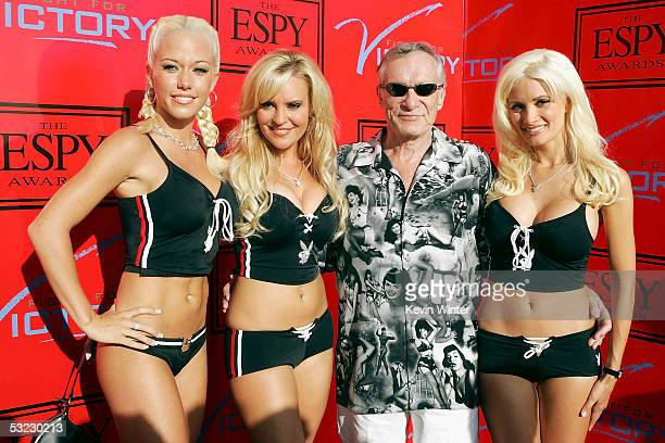 Playboy's Hugh Hefner and his Playmates Kendra Wilkinson Bridget Marquardt and Holly Madison arrive at 'Fight for Victory' the 13th Annual Espy...