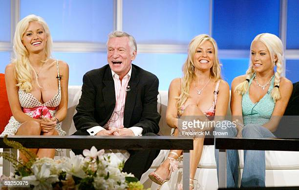 Playboy's Hugh Hefner and his Playmates Kendra Wilkinson Bridget Marquardt and Holly Madison attend the panel discussion for 'The Girls Next Door'...
