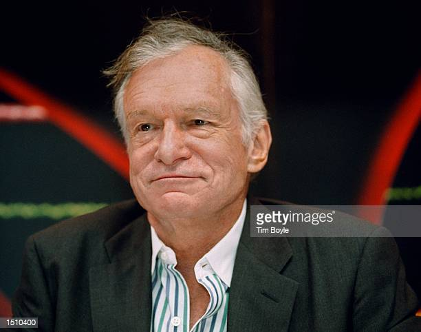 Playboy's Hugh Hefner relaxes for a moment at the Crown Books store in Chicago Il April 11 2000 Hefner was in town with his twin sister Playmate...