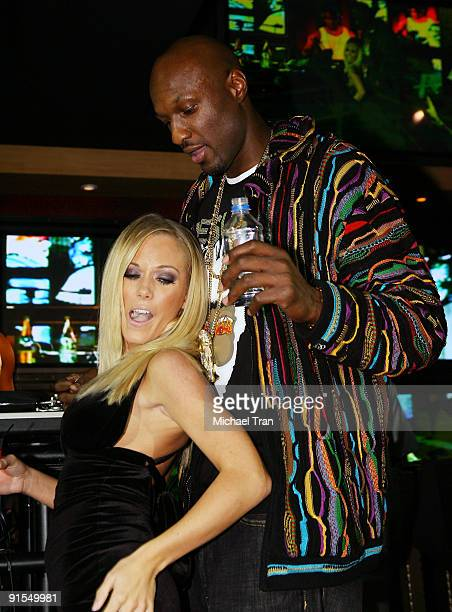 Playboy's Kendra Wilkinson and Los Angeles Lakers basketball player Lamar Odom attends Lamar Odom's Birthday Bash hosted by Playboy's Kendra...