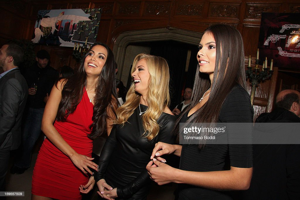 Playboy's Miss April 2012 Raquel Pomplun, Miss May 2012 Nikki Leigh and Miss September 2012 Alana Campos attend the 'Parker' Playboy Mansion 'Art Of The Heist' street art gallery viewing and screening held at the The Playboy Mansion on January 15, 2013 in Beverly Hills, California.