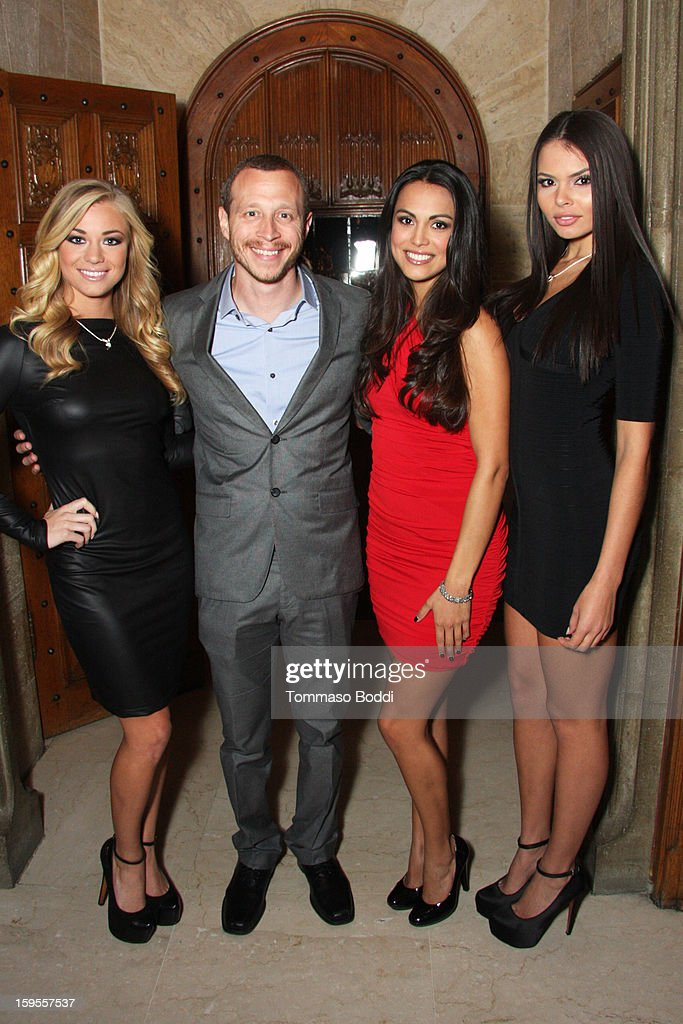 Playboy's Miss May 2012 Nikki Leigh, actor Micah Hauptman, Miss April 2012 Raquel Pomplun and Miss September 2012 Alana Campos attend the 'Parker' Playboy Mansion 'Art Of The Heist' street art gallery viewing and screening held at the The Playboy Mansion on January 15, 2013 in Beverly Hills, California.