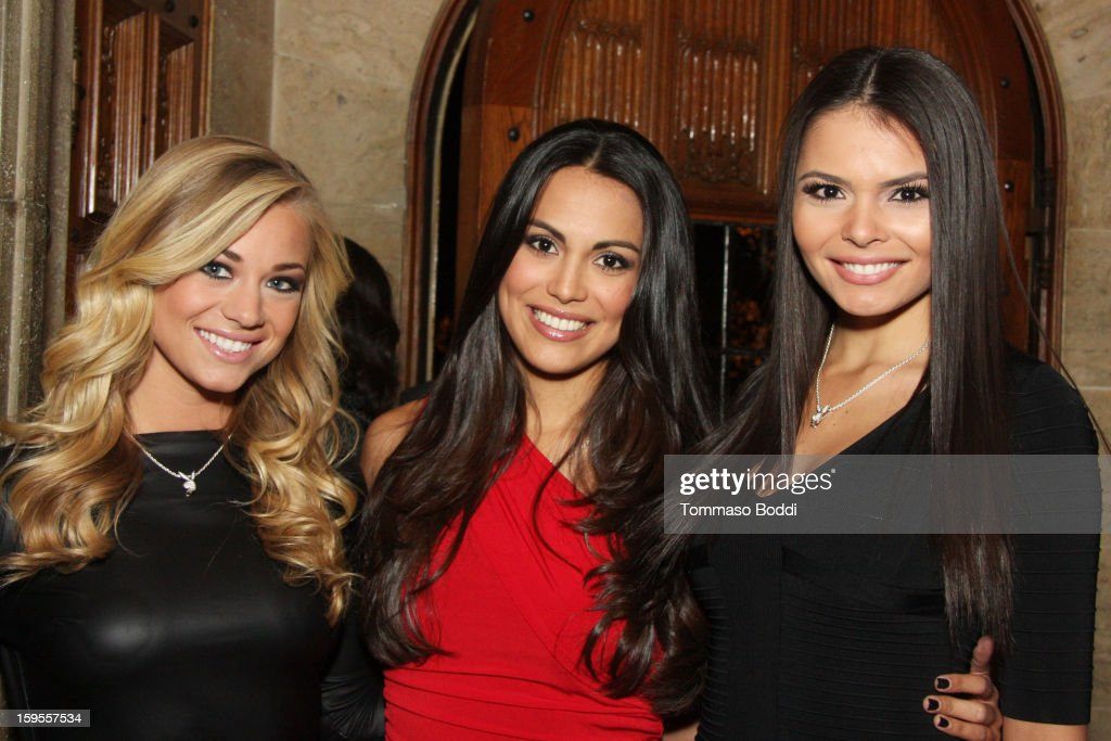 Playboy's Miss May 2012 Nikki Leigh, Miss April 2012 Raquel Pomplun and Miss September 2012 Alana Campos attend the 'Parker' Playboy Mansion 'Art Of The Heist' street art gallery viewing and screening held at the The Playboy Mansion on January 15, 2013 in Beverly Hills, California.
