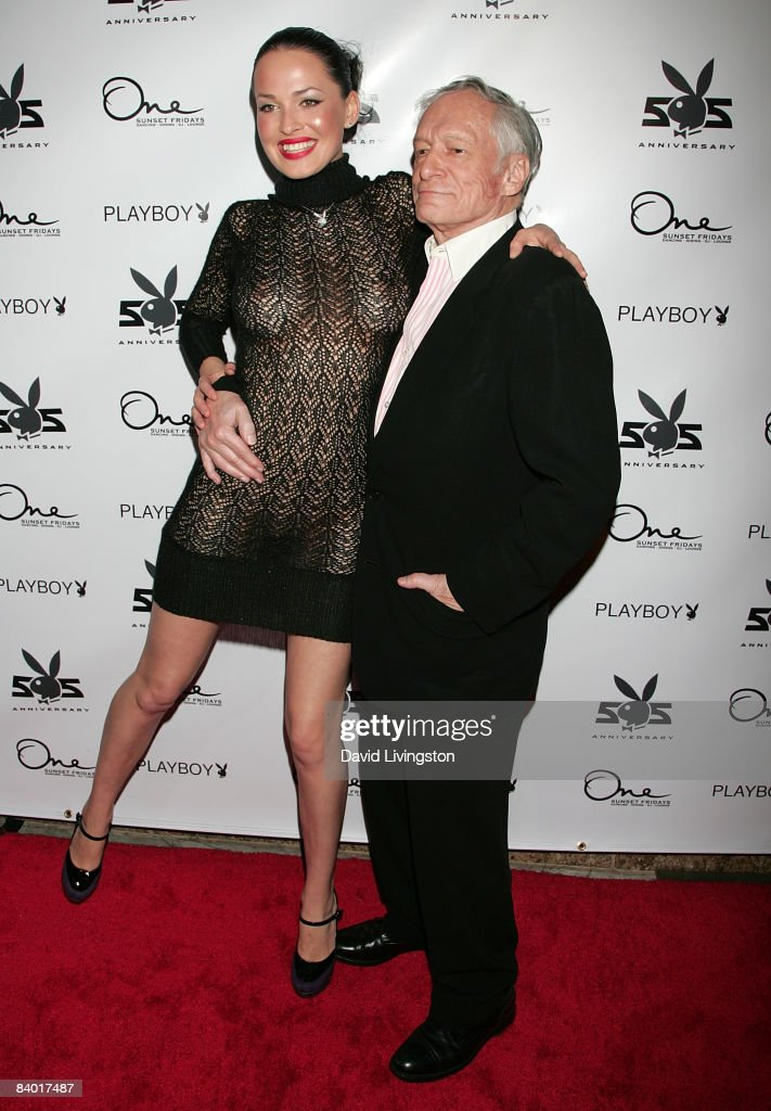 Playboy's Playmate of the Month for January 2009 Dasha Astafieva (L) and Hugh Hefner attend the magazine's 55th anniversary playmate celebration at ONE Sunset on December 12, 2008 in West Hollywood, California.