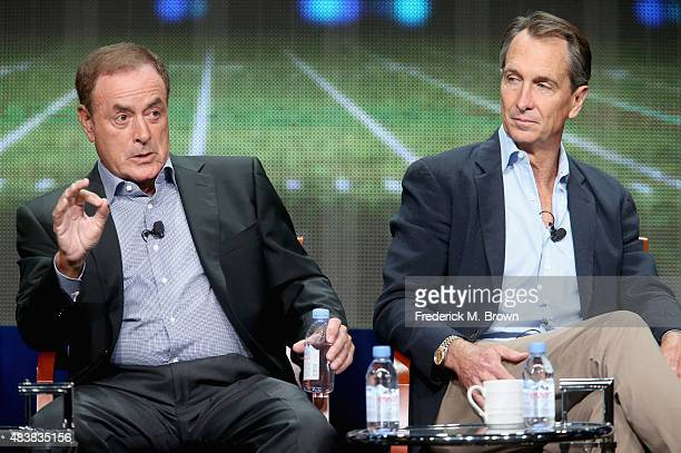 Playbyplay announcer Al Michaels and analyst Cris Collinsworth speak onstage during NBC's 'Sunday Night Football' panel discussion at the...
