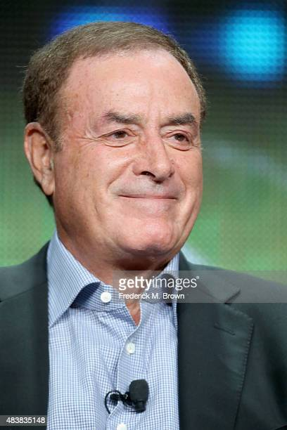 Playbyplay announcer Al Michaels speaks onstage during NBC's 'Sunday Night Football' panel discussion at the NBCUniversal portion of the 2015 Summer...