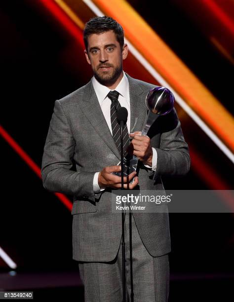 NFL player Aaron Rodgers accepts the Best Play award onstage at The 2017 ESPYS at Microsoft Theater on July 12 2017 in Los Angeles California