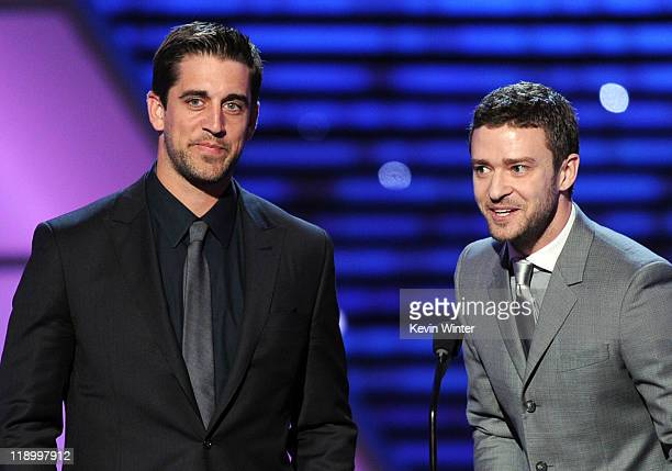 NFL player Aaron Rodgers and actor Justin Timberlake present the ESPY for Best Male College Athlete during The 2011 ESPY Awards at Nokia Theatre LA...
