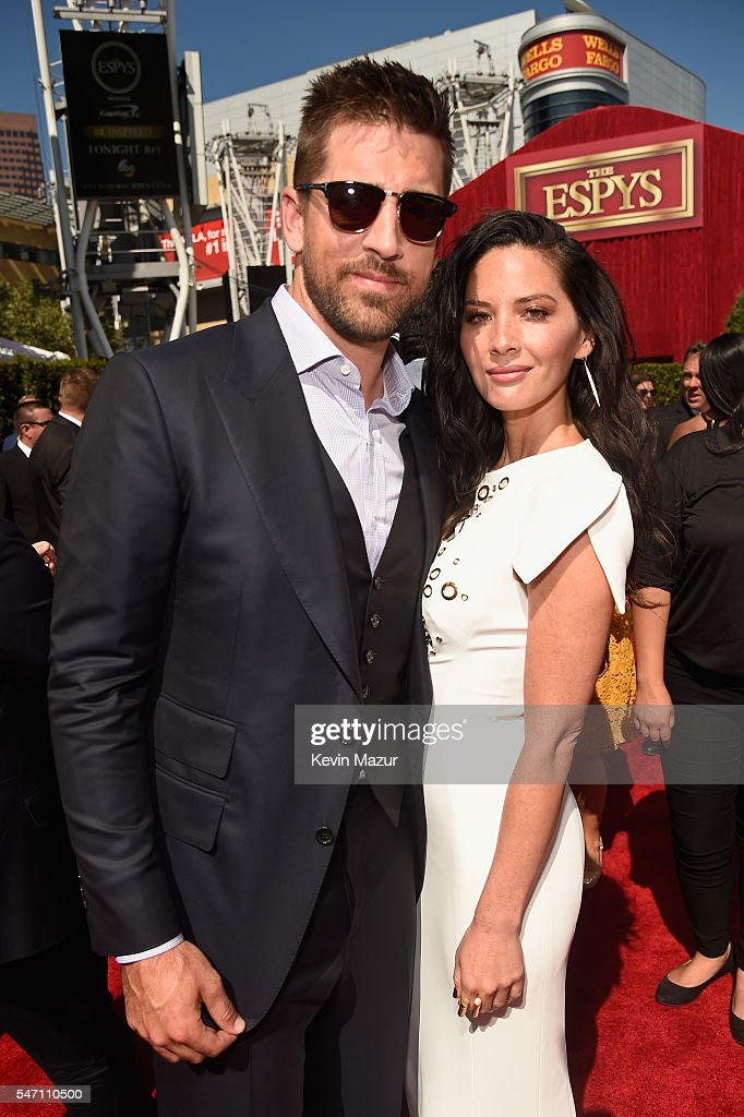 NFL player Aaron Rodgers (L) and actress Olivia Munn attend the 2016 ESPYS at Microsoft Theater on July 13, 2016 in Los Angeles, California.