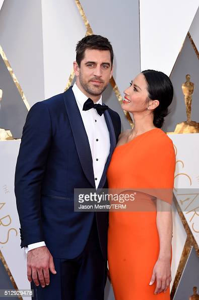 NFL player Aaron Rodgers and actress Olivia Munn attend the 88th Annual Academy Awards at Hollywood Highland Center on February 28 2016 in Hollywood...