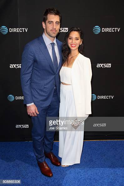 NFL player Aaron Rodgers and actress Olivia Munn attend the DirecTV and Pepsi Super Saturday Night featuring Red Hot Chili Peppers at Pier 70 on...