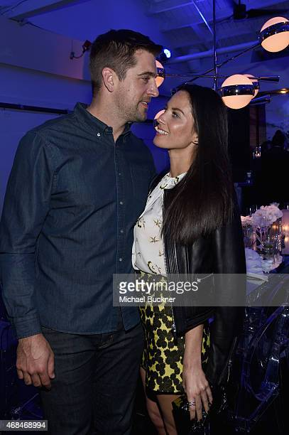 NFL player Aaron Rodgers and actress Olivia Munn attend the Samsung Galaxy S 6 edge launch on April 2 2015 in Los Angeles California