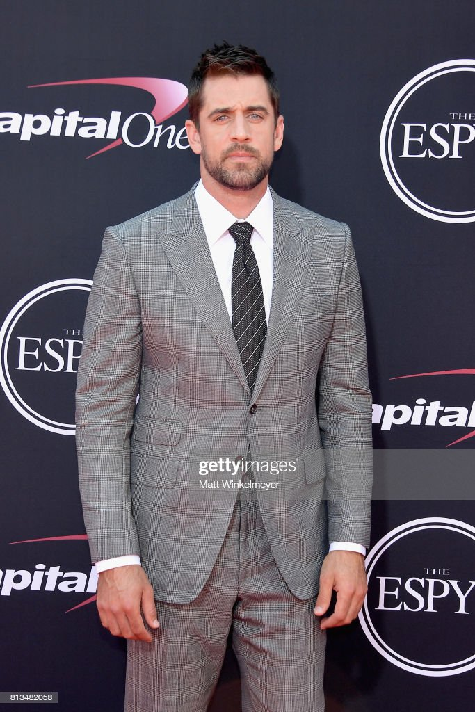 NFL player Aaron Rodgers attends The 2017 ESPYS at Microsoft Theater on July 12, 2017 in Los Angeles, California.
