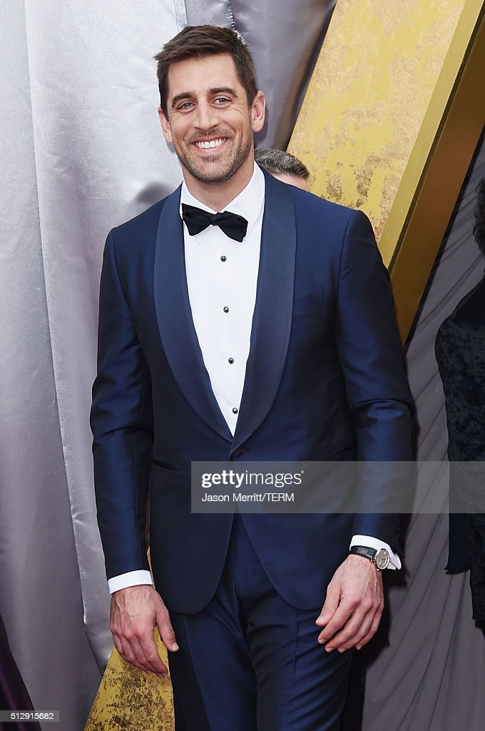 NFL player Aaron Rodgers attends the 88th Annual Academy Awards at Hollywood Highland Center on February 28 2016 in Hollywood California