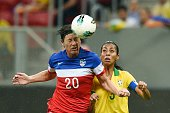US player Abby Wambach heads the ball next to Brazil's player Bruna Soares during their Brasilia International Tournament final football match at...