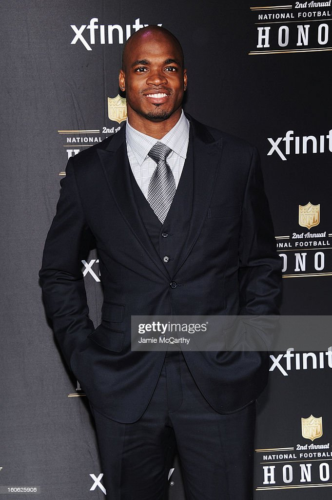 NFL player Adrian Peterson attends the 2nd Annual NFL Honors at Mahalia Jackson Theater on February 2, 2013 in New Orleans, Louisiana.