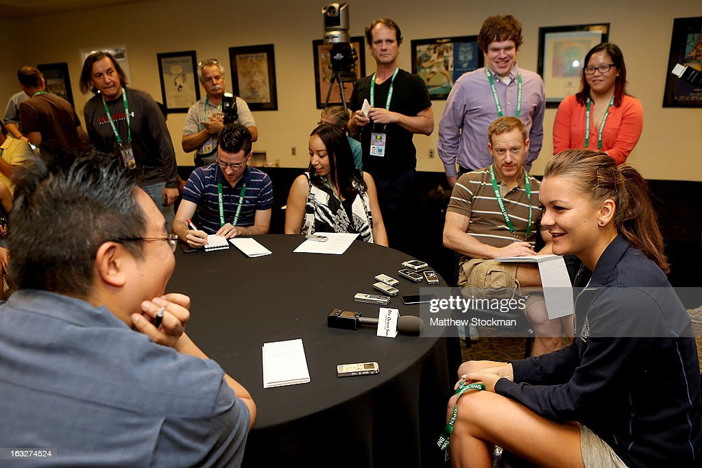 WTA player Agnnieszka Radwanska of Poland fields questions from the media during the WTA All Access Hour at the BNP Paribas Open at the Indian Wells Tennis Garden on March 6, 2013 in Indian Wells, California.