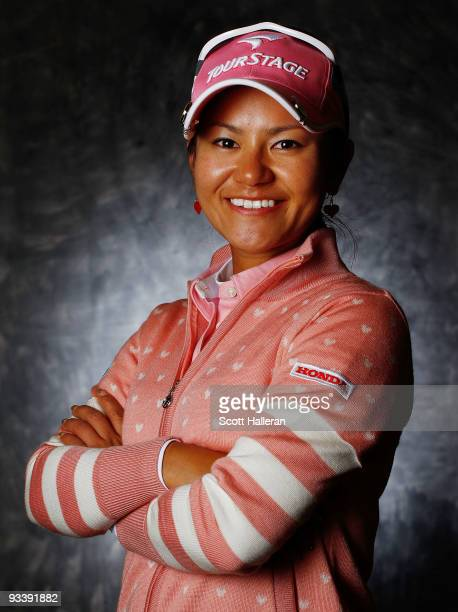 LPGA player Ai Miyazato of Japan poses for a portrait prior to the start of the LPGA Tour Championship at the Houstonian Golf and Country Club on...