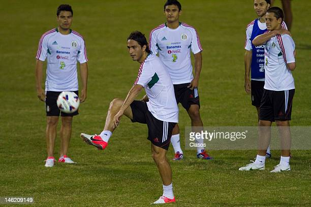 Player Aldo De Nigris in action during a training session of the Mexican National Soccer Team at Cuscatlan Staduim before a match between Mexico and...
