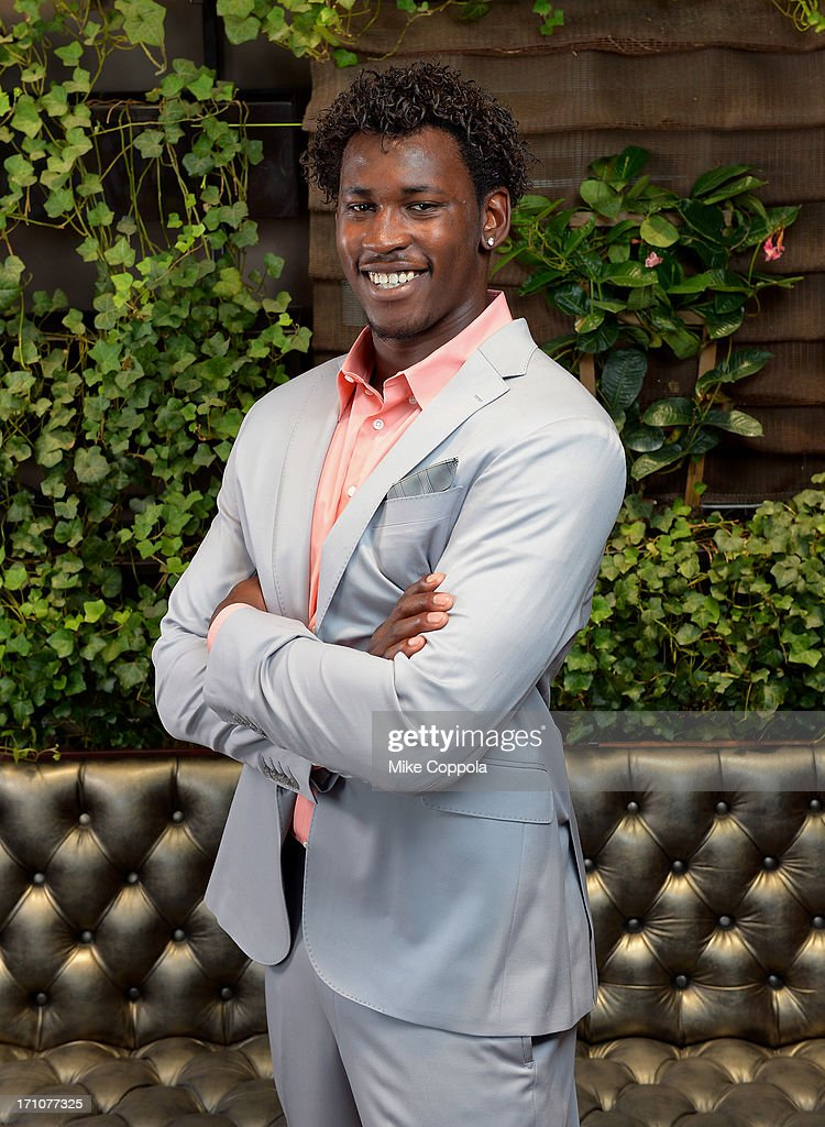 Player Aldon Smith Portrait Session on June 21, 2013 in New York City.
