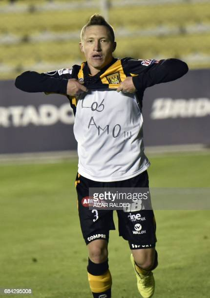Player Alejandro Chumacero of Bolivia's The Strongest celebrates after scoring against Brazilian Santos during a Copa Libertadores football match at...