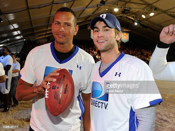 MLB player Alex Rodriguez and actor Chace Crawford pose during DIRECTV's Fifth Annual Celebrity Beach Bowl at Victory Park on February 5 2011 in...