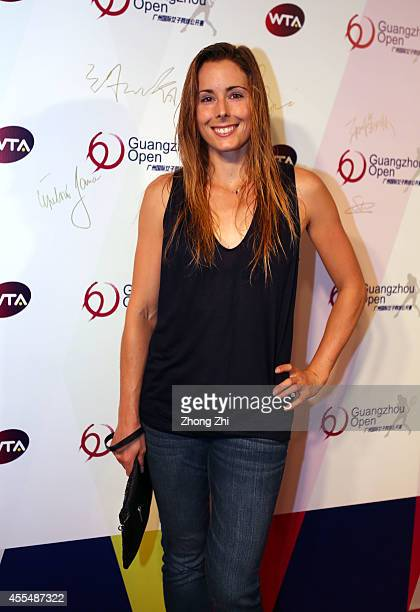 Player Alize Cornet of France attends the WTA Guangzhou Welcome Party at Hilton Hotel during day one of the 2014 WTA Guangzhou Open on September 15...