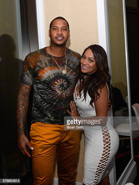 NBA player and 2016 USA Basketball Men's National Team member Carmelo Anthony and his wife radio/television personality La La Anthony attend as he...