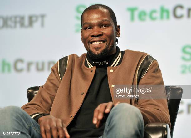Player and Durant Company/Thirty Five Media Partner Kevin Durant speaks onstage during TechCrunch Disrupt SF 2017 at Pier 48 on September 19 2017 in...