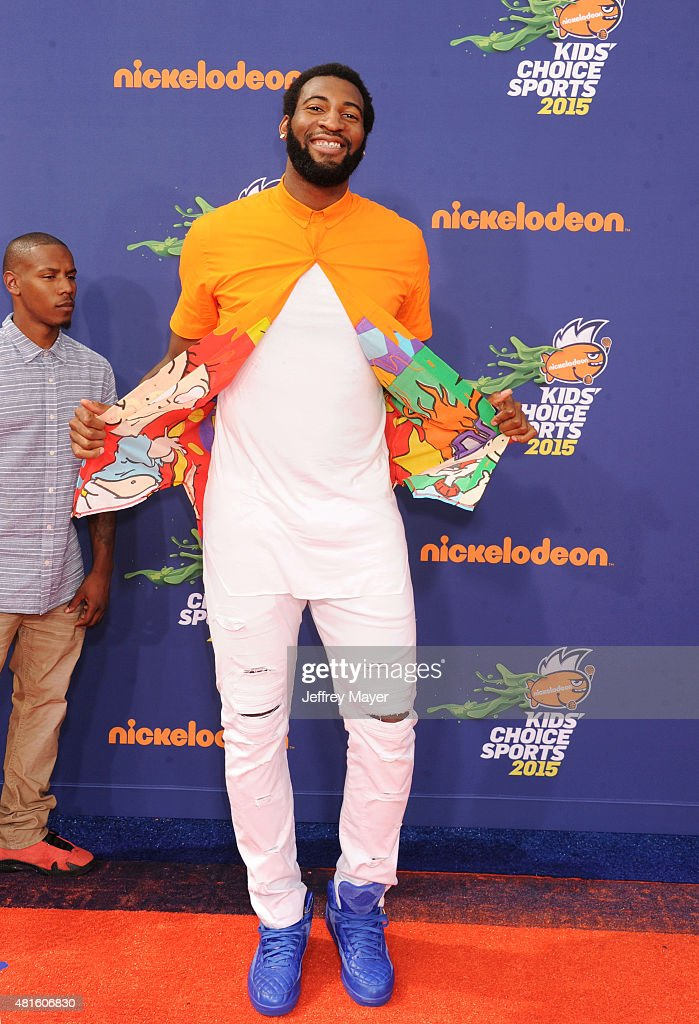 NBA player Andre Drummond arrives at the Nickelodeon Kids' Choice Sports Awards 2015 at UCLA's Pauley Pavilion on July 16, 2015 in Westwood, California.