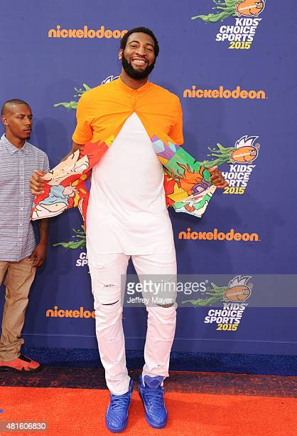 NBA player Andre Drummond arrives at the Nickelodeon Kids' Choice Sports Awards 2015 at UCLA's Pauley Pavilion on July 16 2015 in Westwood California