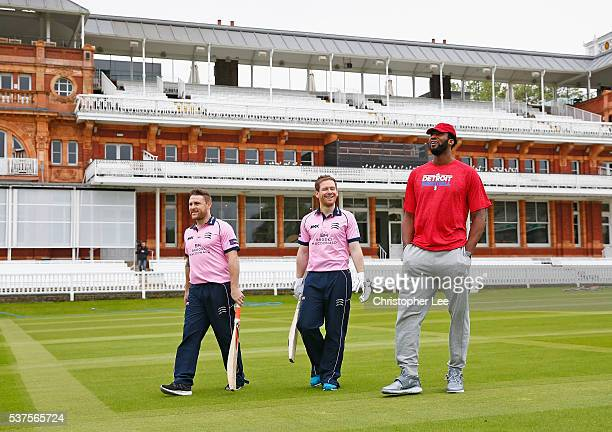 NBA player Andre Drummond gets a tour of Lords with Middlesex Cricketers Eoin Morgan of England and Brendan McCullum of New Zealand at Lords on June...