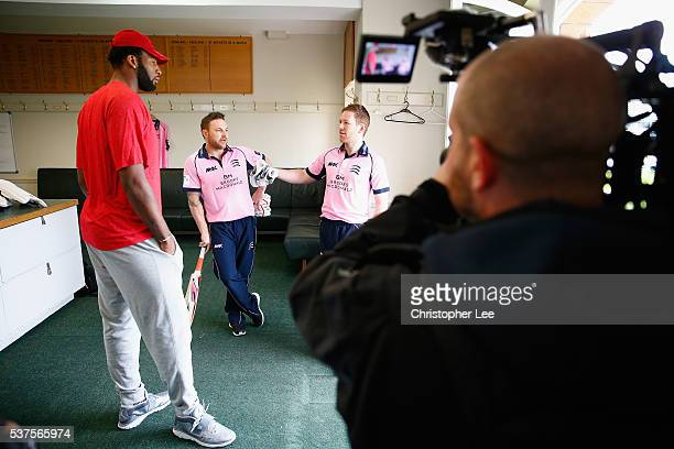 NBA player Andre Drummond learns about cricket as he gets a tour of Lords by Middlesex Cricketers Eoin Morgan of England and Brendan McCullum of New...