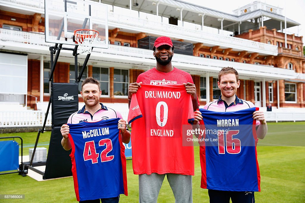 NBA player, <a gi-track='captionPersonalityLinkClicked' href=/galleries/search?phrase=Andre+Drummond&family=editorial&specificpeople=7122456 ng-click='$event.stopPropagation()'>Andre Drummond</a> (C) meets Middlesex Cricketers <a gi-track='captionPersonalityLinkClicked' href=/galleries/search?phrase=Eoin+Morgan&family=editorial&specificpeople=689581 ng-click='$event.stopPropagation()'>Eoin Morgan</a> of England (R) and Brendan McCullum of New Zealand at Lords on June 2, 2016 in London, England.