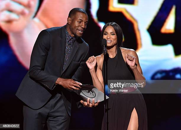 NBA player Andre Iguodala and recording artist Ciara speak onstage during The 2015 ESPYS at Microsoft Theater on July 15 2015 in Los Angeles...