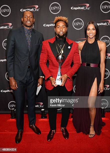NBA player Andre Iguodala with NFL player Odell Beckham Jr and Musician Ciara with the award for Best Play at The 2015 ESPYS at Microsoft Theater on...