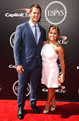 NFL player Andrew East and former Olympic gymnast Shawn Johnson attend The 2015 ESPYS at Microsoft Theater on July 15 2015 in Los Angeles California