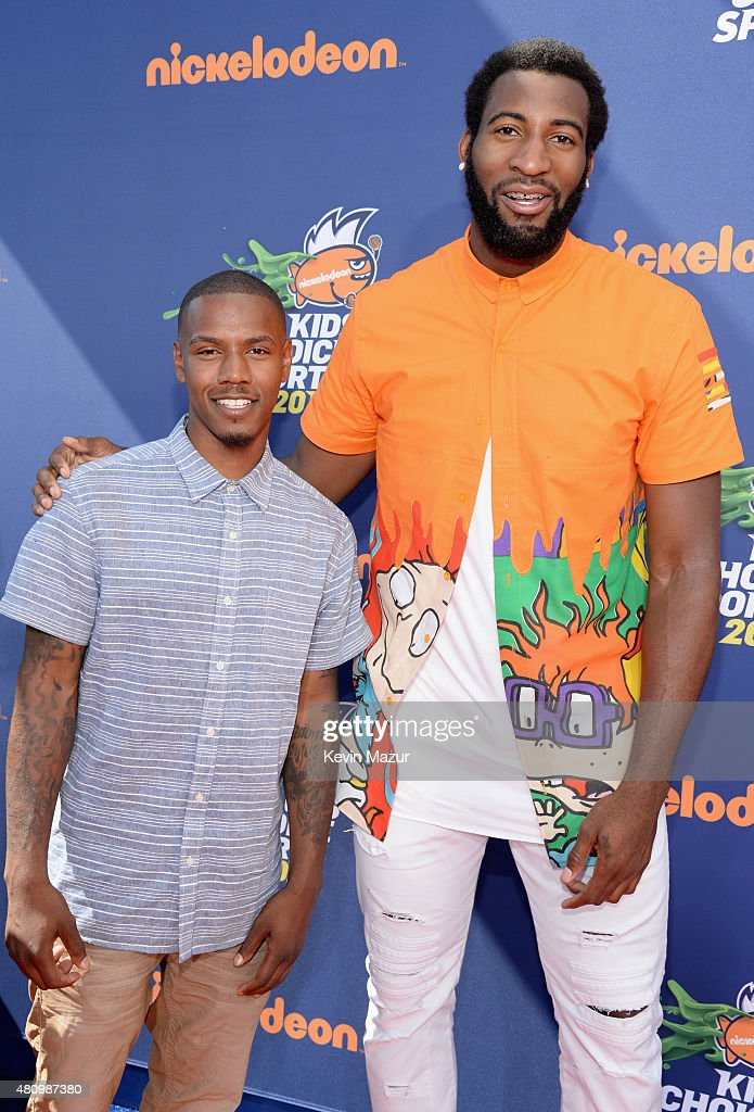 NFL player Andrew Hawkins (L) and NBA player Andre Drummond attend the Nickelodeon Kids' Choice Sports Awards 2015 at UCLA's Pauley Pavilion on July 16, 2015 in Westwood, California.