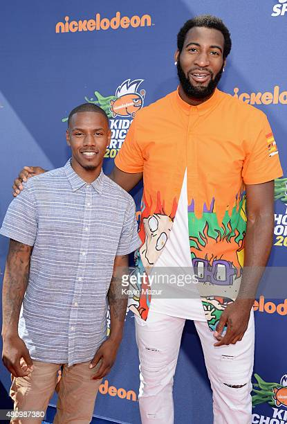 NFL player Andrew Hawkins and NBA player Andre Drummond attend the Nickelodeon Kids' Choice Sports Awards 2015 at UCLA's Pauley Pavilion on July 16...