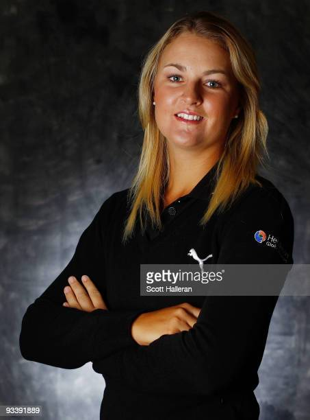 LPGA player Anna Nordqvist of Sweden poses for a portrait prior to the start of the LPGA Tour Championship at the Houstonian Golf and Country Club on...