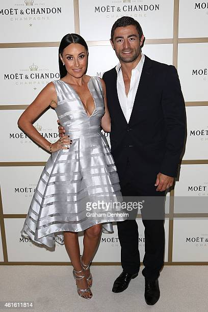 NRL player Anthony Minichiello of the Sydney Roosters and his wife Terry Biviano arrive at the Moet Chandon event ahead of the Australian Open...