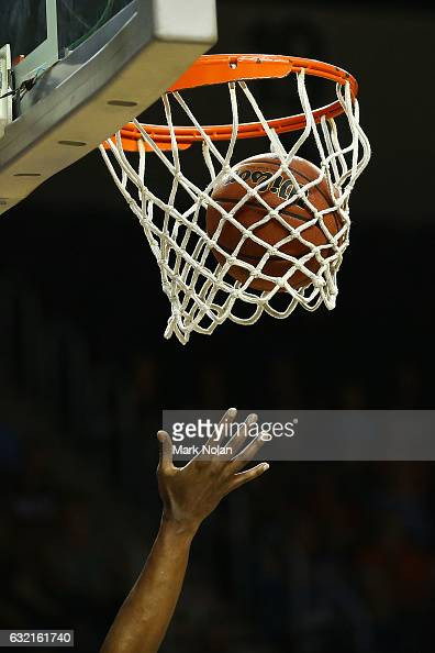 A player attempts to rebound during the round 16 NBL match between the Illawarra Hawks and the New Zealand Breakers at the Wollongong Entertainment...