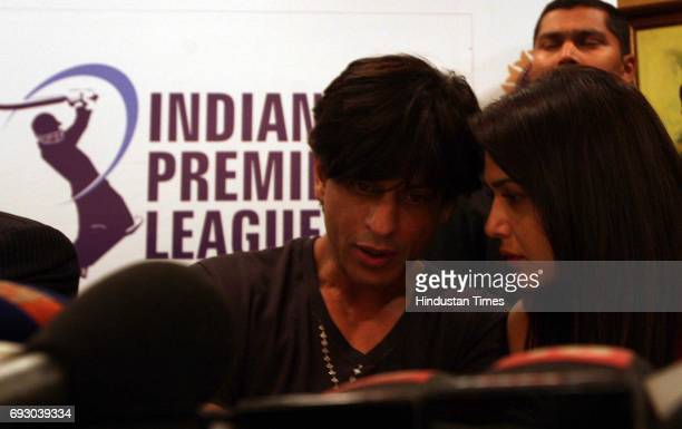 Player Auction Shah Rukh Khan and Priety Zinta during a media conference after the IPL Players' auction at Hilton Towers on Wednesday