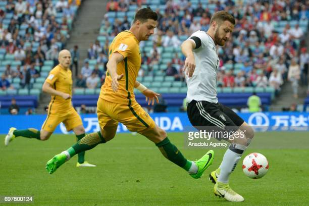player Australia Tomi Juric and player Germany Shkodran Mustafi while match the FIFA Confederations Cup 2017 group B soccer match between Australia...